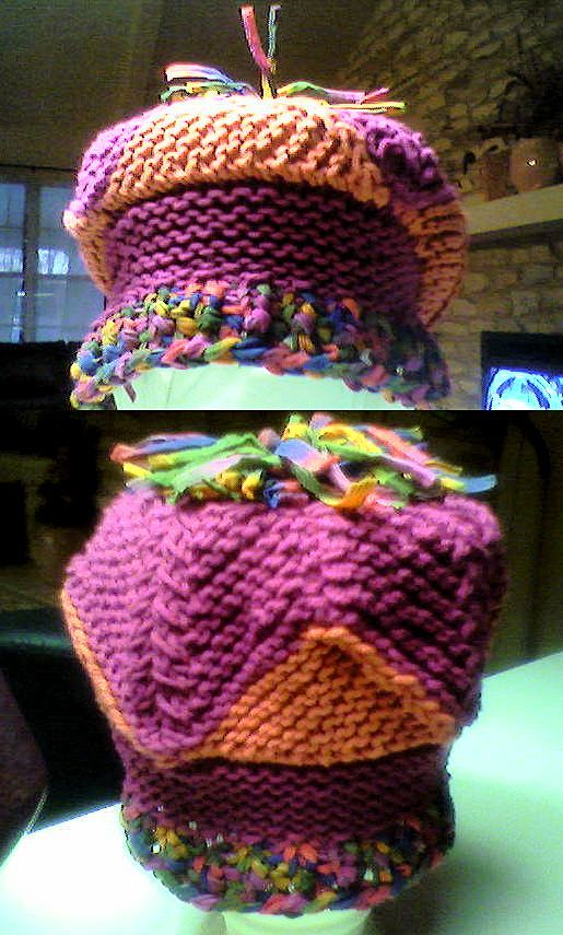 Cute kids cap. Domino knitting and garter stitch. Easy Peasy!