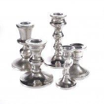 aluminium shiney set 5 candleholders