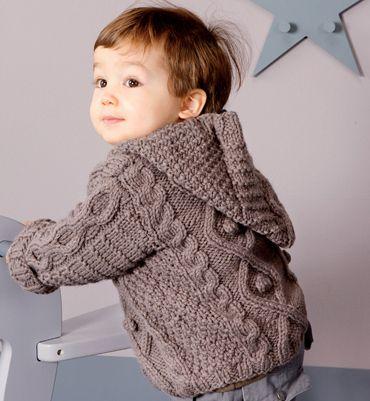 mod le manteau capuche b b livre tricot layette 1er trousseau tricot pinterest. Black Bedroom Furniture Sets. Home Design Ideas
