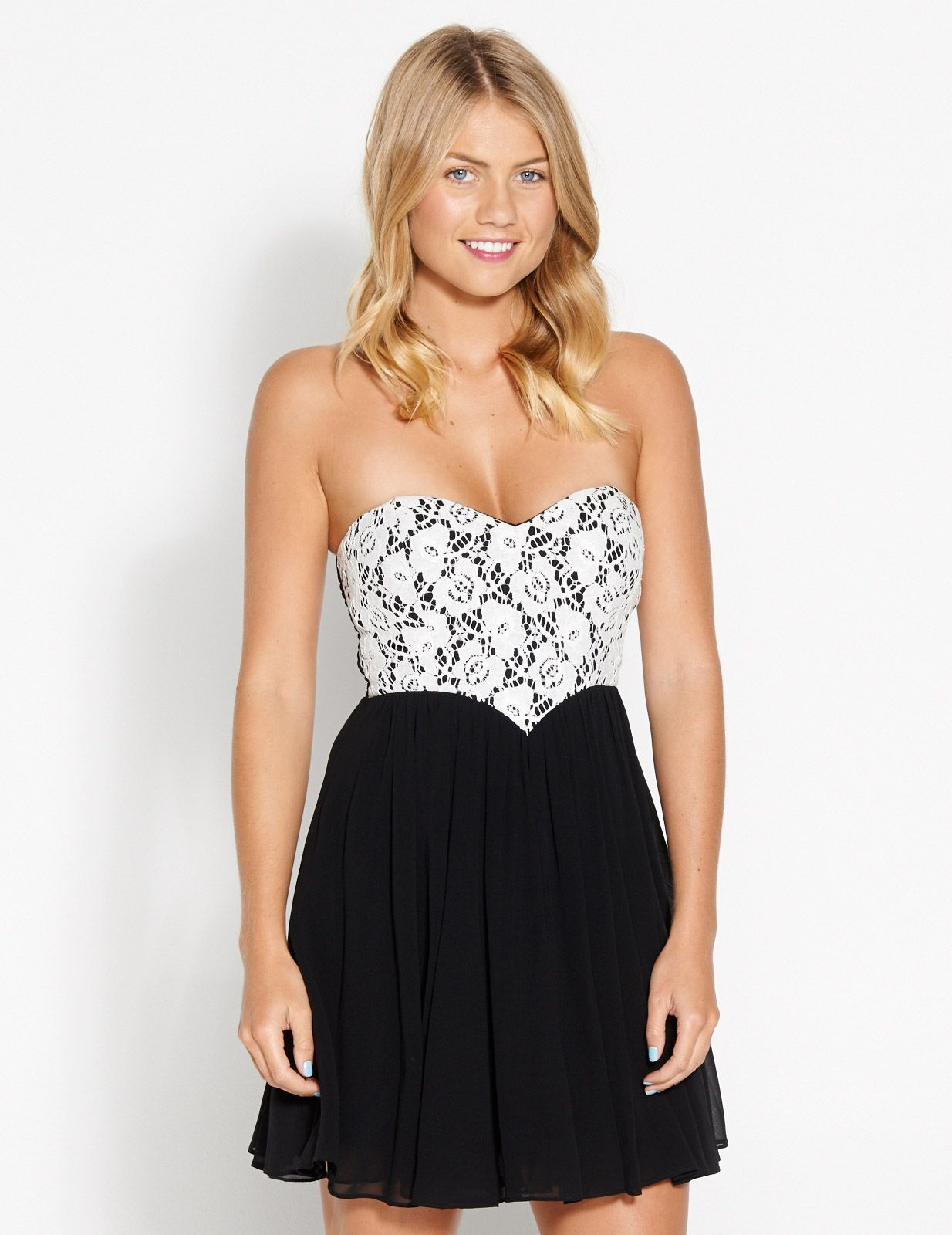 Black and white lace bodice dress