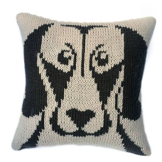 Weimaraner Cushion Knitting Pattern Knitted Cushion Cover Pattern