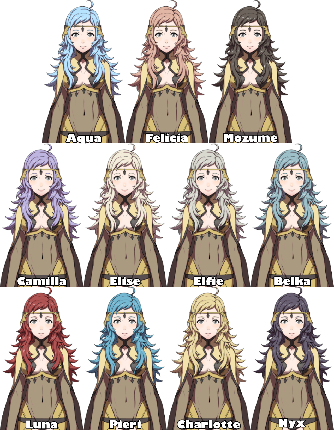 Ophelia's hair chart  Child of Odin | Conquest Hair Charts
