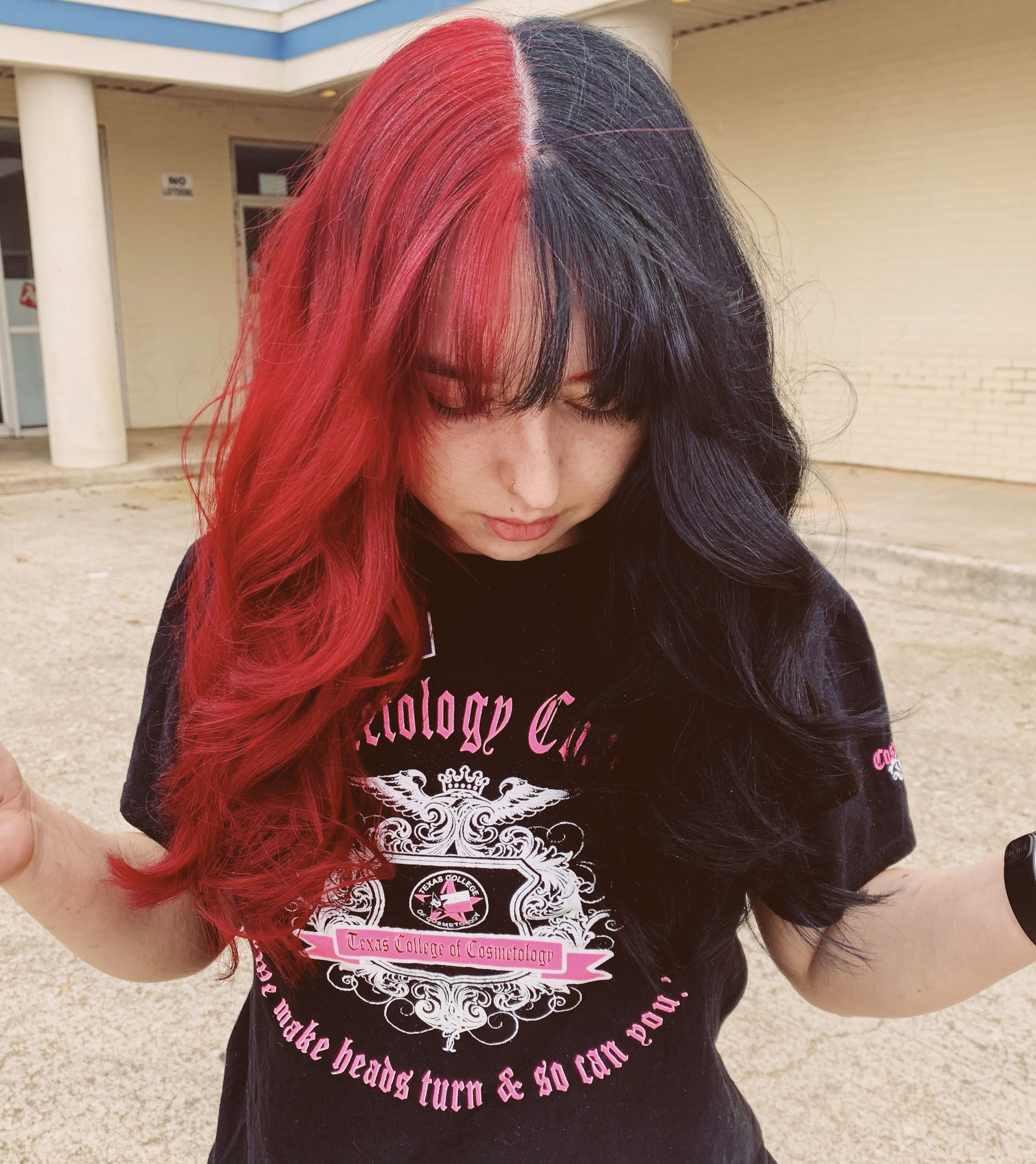 Half And Half Hair Color Red And Black Two Color Hair Half Colored Hair Hair Color For Black Hair