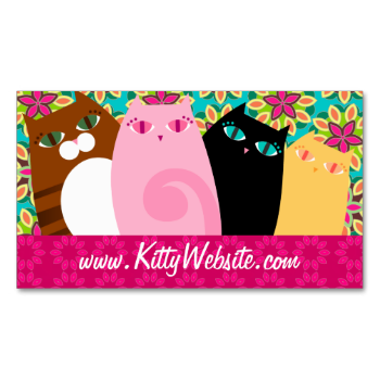 A cast of curious kitties on floral patterns - this business card is perfect for a groomer, pet spa, boutique, kitty wear designer or as a personal calling card! Customize with your own text for a perfectly personalized card! #cat #business #pink #fuschia #magenta #green #floral #flowers #vet #veterinarian #veterinary #website #blog #orange #brown #stripes #black #group #multiple #cats #crowd #many #several #card #pretty #kitty #feline #pet #animal #groomer #grooming #cats #hot #orlee ...