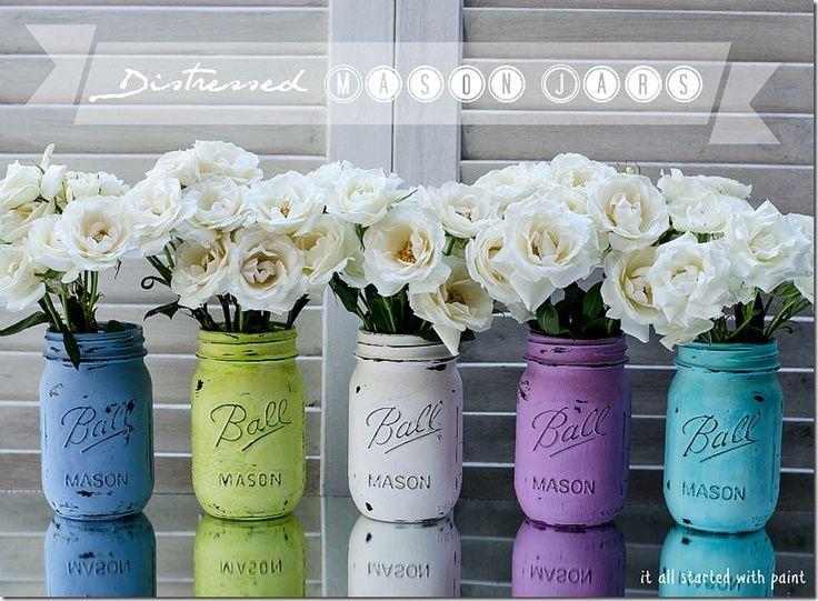 Distressed Mason Jars Painted Mason Jars Painted Jars Mason Jars