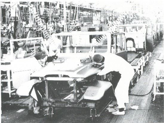 Arakawa body shop, Toyota Land Cruiser assembly line, Japan. FJ40.