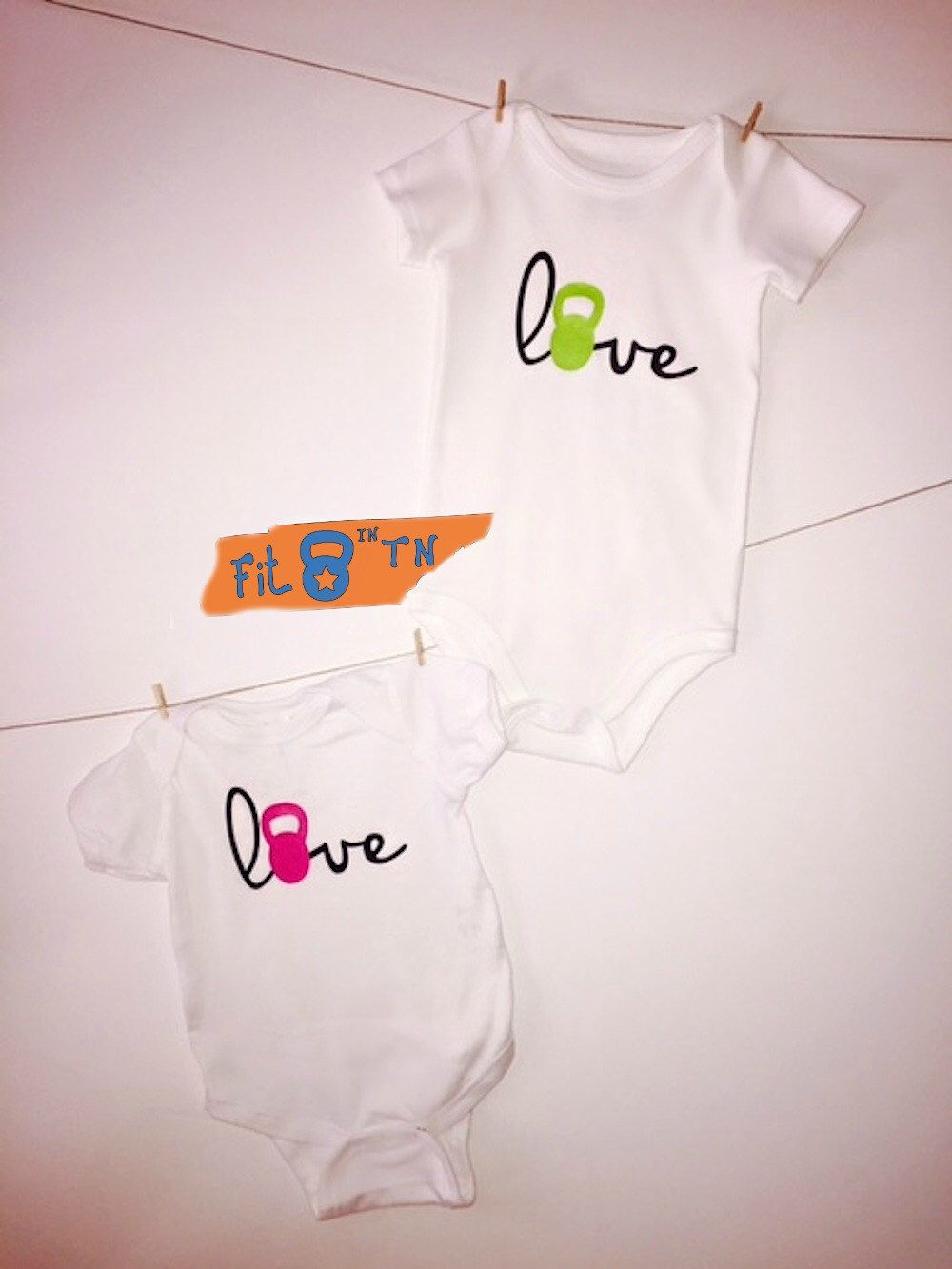 63776c93c781b Crossfit Baby LOVE with a kettlebell Onesie Romper or T-shirt by FitInTN on  Etsy