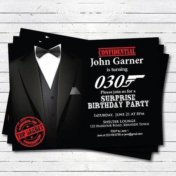 Surprise 21st Birthday Invitation Hollywood Movie Theme Costume 50th 60th 70th