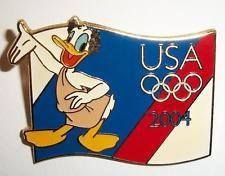 Disney 2004 USA Olympic Logo Donald Duck in Toga on Flag ...