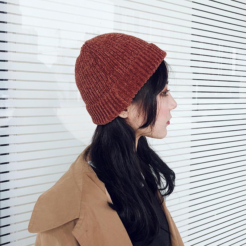 Women Girls Winter Chic Street Hip-Hop Hat Rolled Cuff Knit Melon Cap Beanie  Skullcap c80f919ac7a4