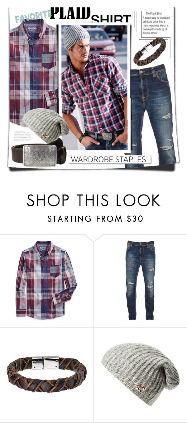 """""""Mad for Plaid"""" by obriendeb812 ❤ liked on Polyvore featuring American Rag Cie, Nudie Jeans Co., White Label, Maison Kitsuné, Ariat, men's fashion, menswear, plaid and WardrobeStaples"""