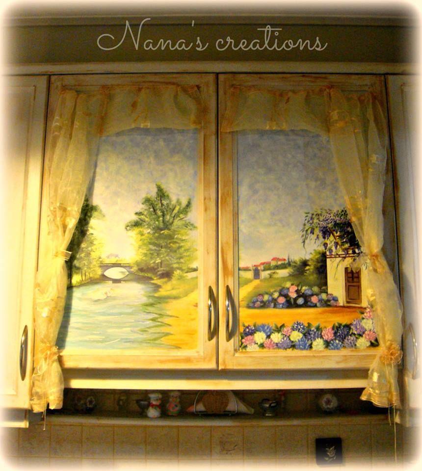 Decoupage kitchen cabinets | Decoupage, Painting, Art