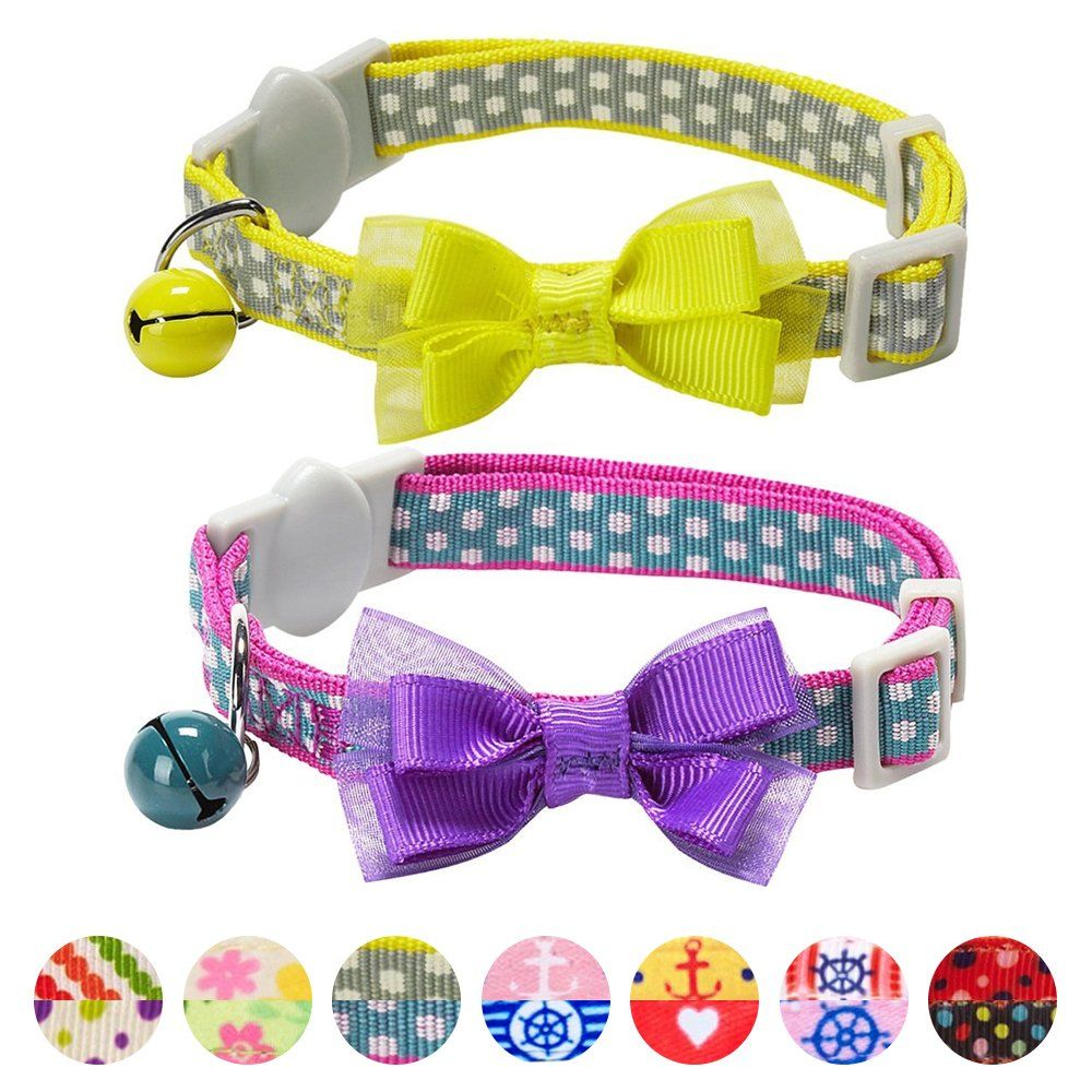 Blueberry Pet Pack Of 2 Cat Collars Square Dots Adjustable Breakaway Cat Collar For Girl And Boy With Bow Tie And Bel Breakaway Cat Collars Collars Cat Collars
