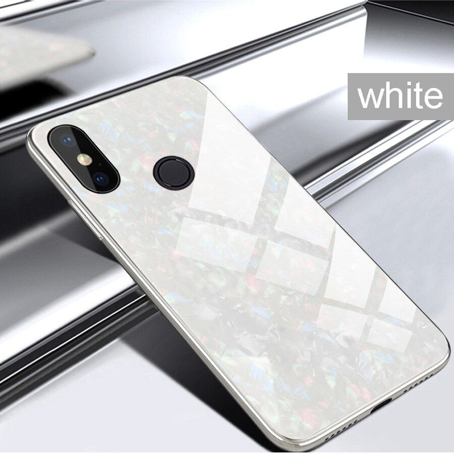 For Xiaomi Mi A2 Lite Case Mi A2 Case Luxury Glitter Plating Edge Tempered Glass Marble Phone Cover For Xiaomi Redmi 6 Pro 6a Glass Marbles Tempered Glass Phone Cover