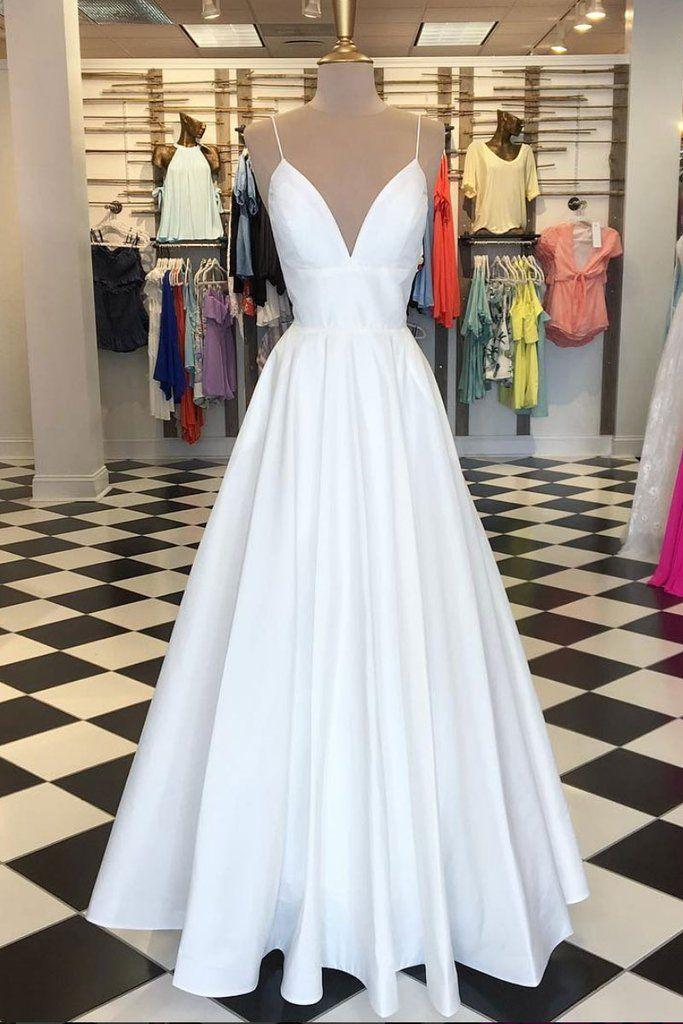 Spaghetti Straps A-line White Satin Prom Dress Floor Length Women Dress 2019