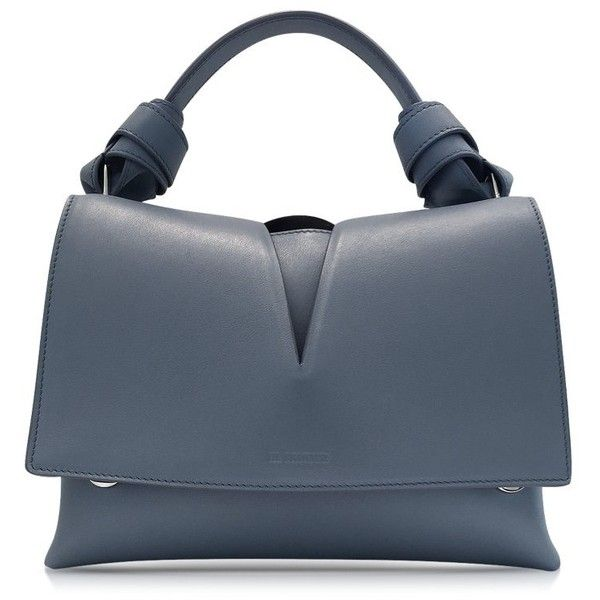 Jil Sander Handbags View Handle w/Knot Open Blue Leather Bag ($665) ❤ liked on Polyvore featuring bags, handbags, shoulder bags, blue shoulder bag, leather handbags, blue leather handbags, blue purse and blue leather purse