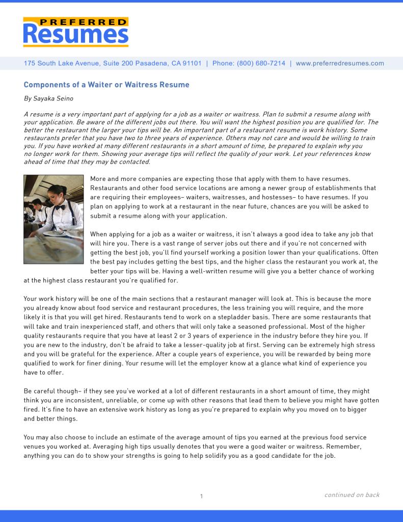 Waitress Resume Sample No Experiences Http Www Jobresume Website