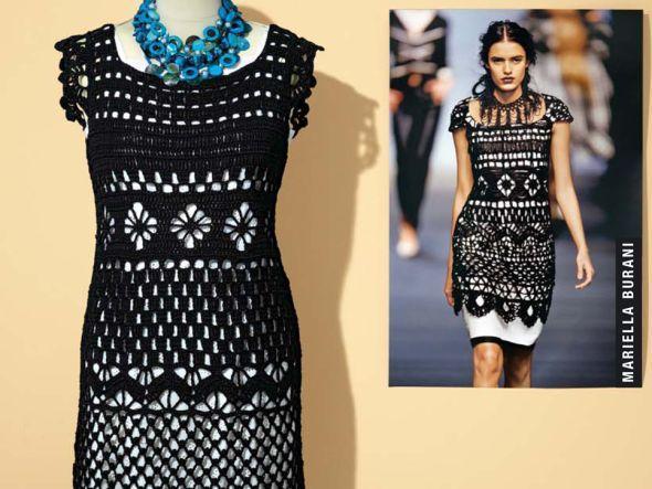 Kleid im Stil von Mariella Burani häkeln   Schwarzes kleid ...