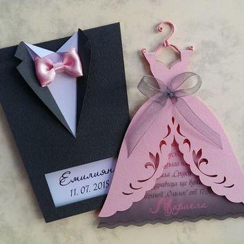 handmade wedding place cards bright and groom dress Bridal Wedding - formal handmade invitation cards