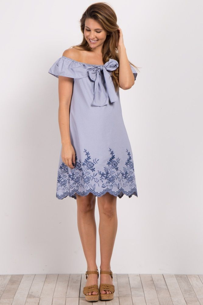d16016c0d91 This beautifully feminine maternity dress is going to be your new favorite  piece in your closet. A pretty scalloped embroidered hem gives you an  adorable ...