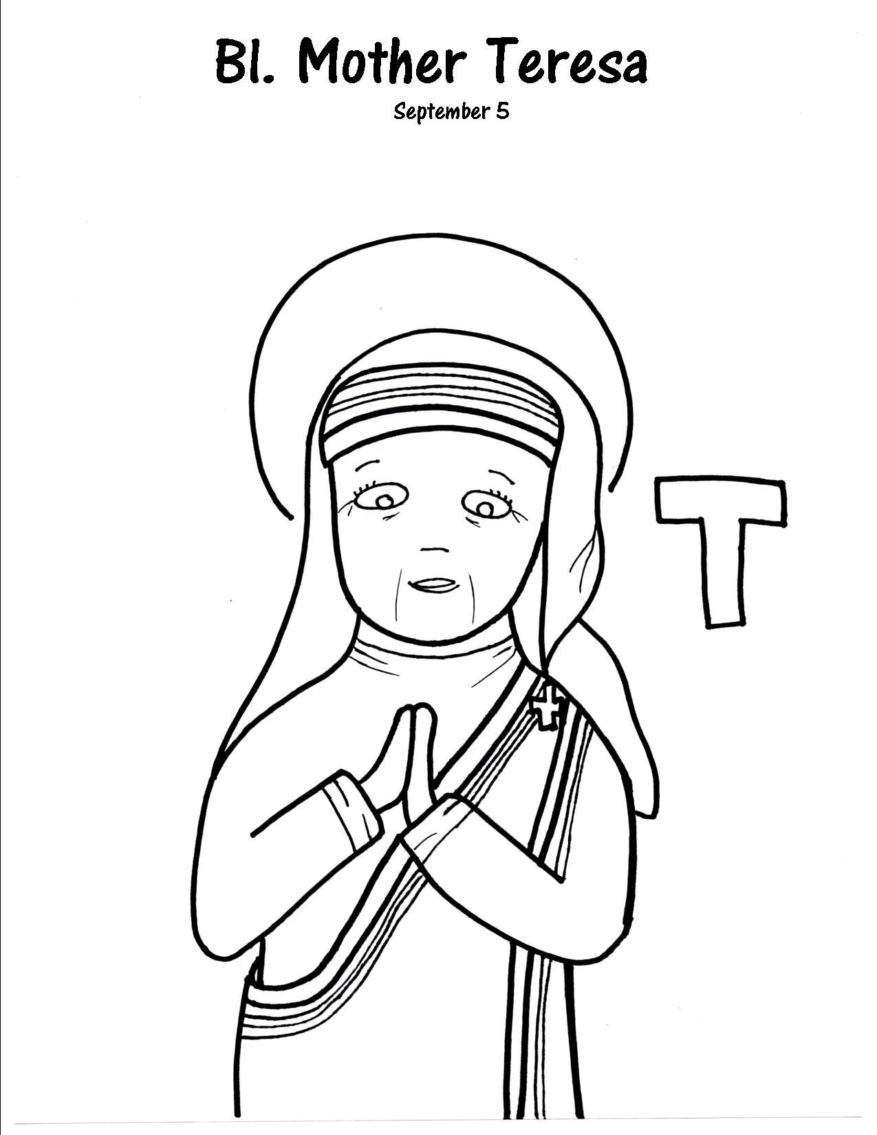 T is for Blessed Mother Teresa | OLQS- Preschool Co-op | Pinterest ...