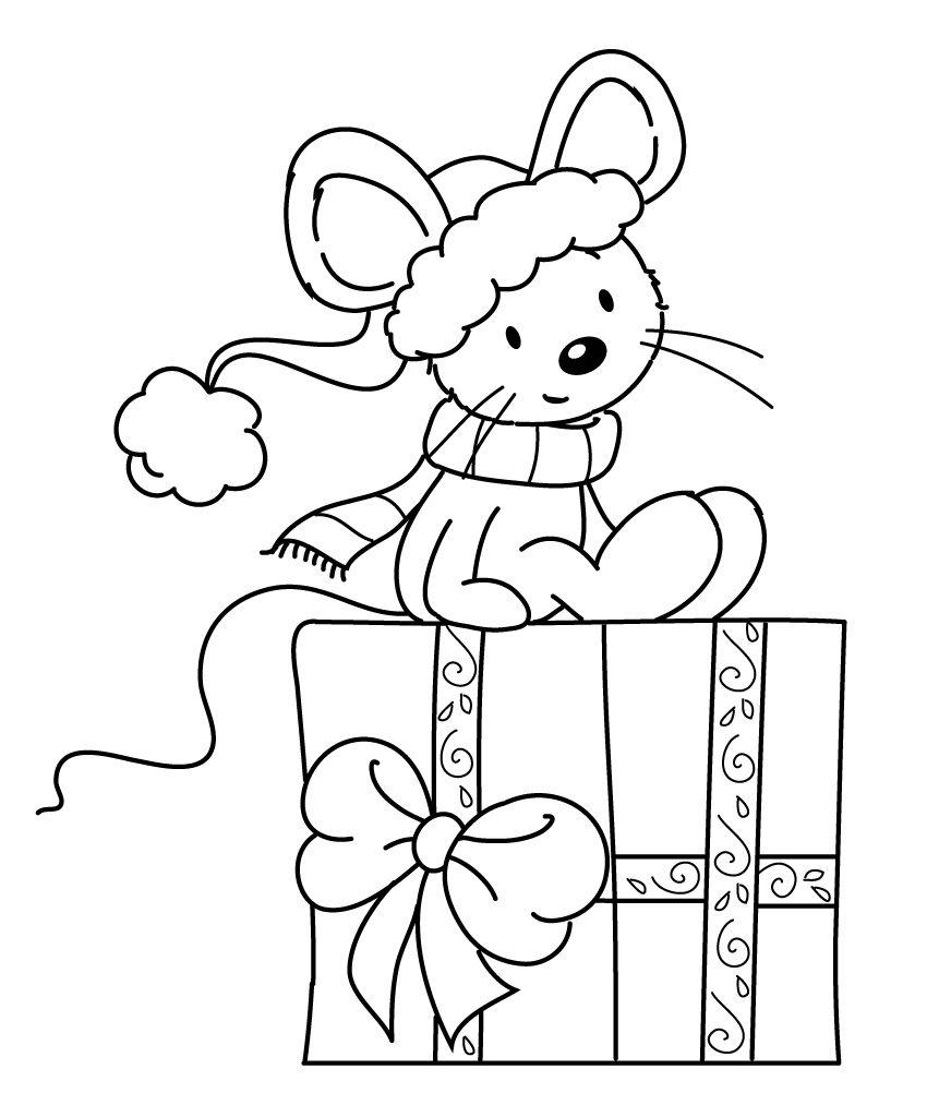 Sylvia Zet Freebie Coloriage Souris Noel Christmas Christmas