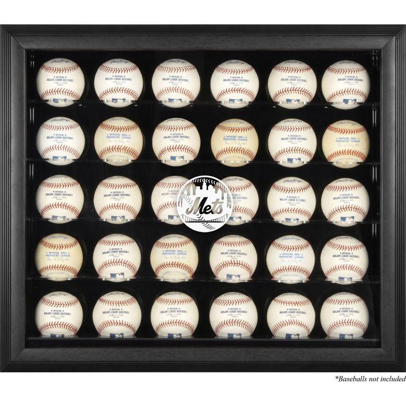 New York Mets Fanatics Authentic Logo Black Framed 30-Ball Display Case