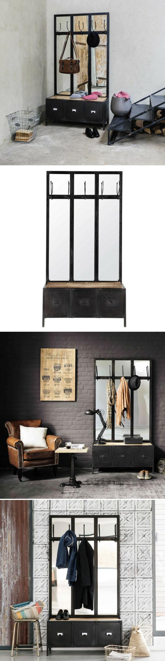 Meuble D Entrée Industriel meuble d'entrée avec miroir en métal noir | sneakers ink