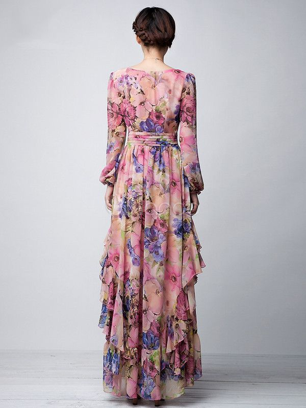 e034fe3792 Pink-Floral-Printed-Long-Sleeves-Chiffon-Jewel-Neck-Maxi-Dress) | on ...