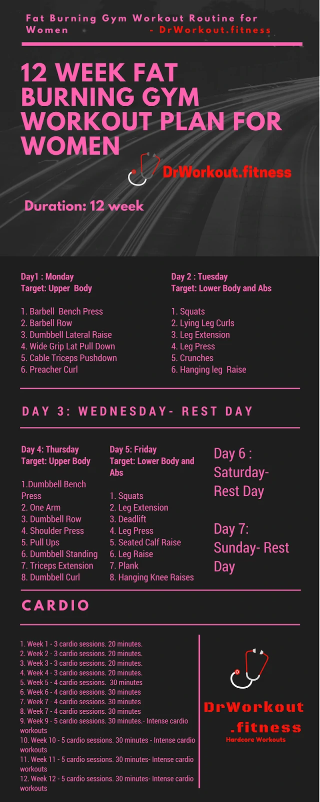 Photo of 12 Week Fat Burning Gym Workout Plan for Women