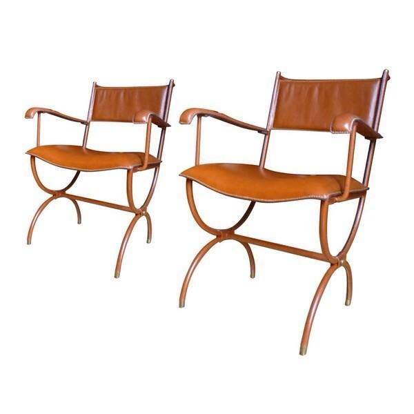 Jacques Adnet 1950 S Hand Stitched Leather Chairs Lounge Chair