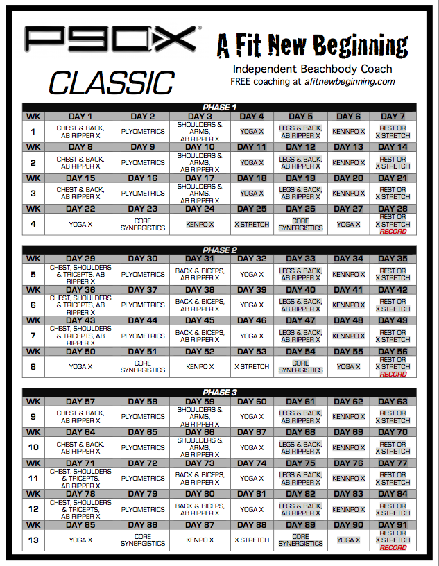 schedule printable free printable p90x workout beginner workout ...