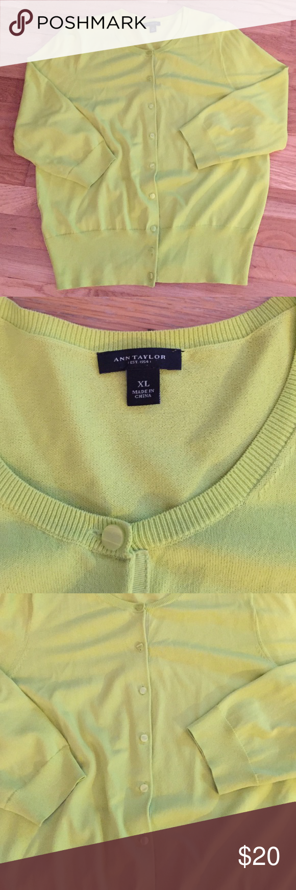 Ann Taylor Lime Green Cardigan! Great condition! Great color ...