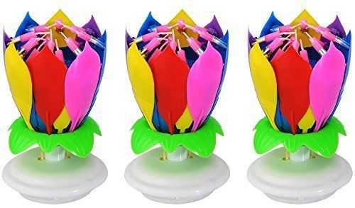 A Set Of 3 Music Birthday Candle Firework Musical Lotus Rotating Happy