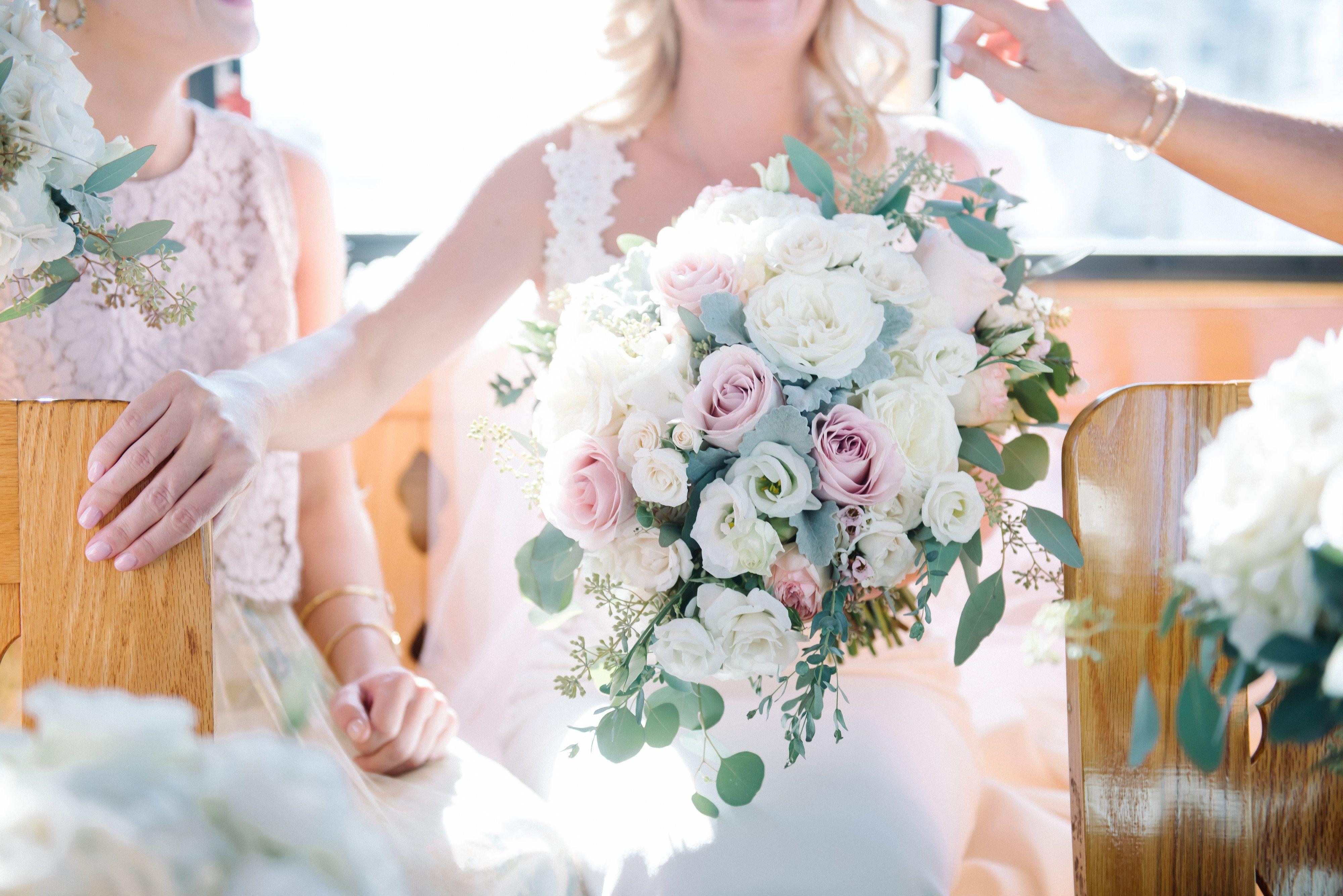 White And Blush Bridal Bouquet Tear Drop Cascade Wedding Bouquet