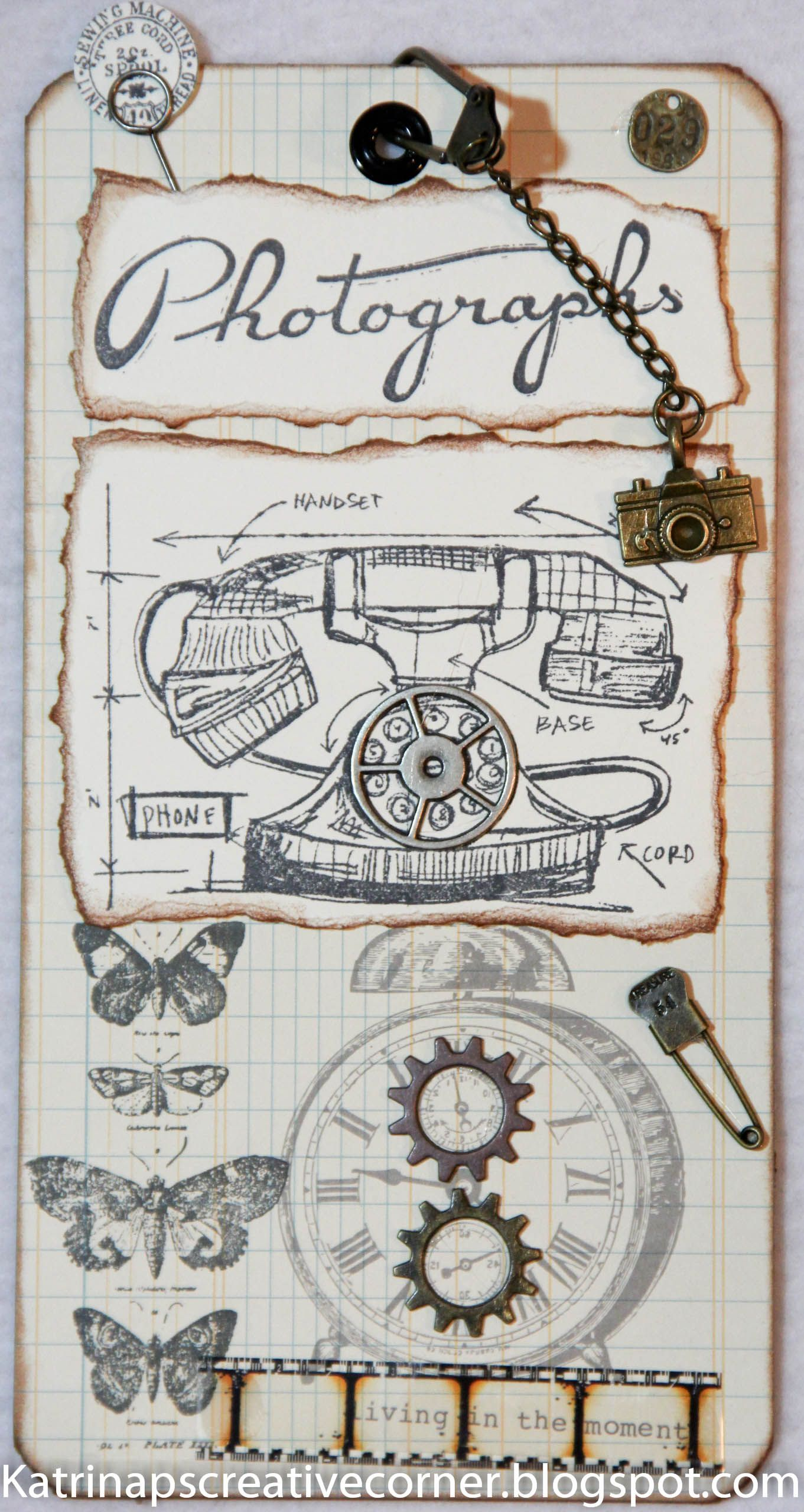 Here is a tag I made for a swap I participate in on Facebook called Create Exchange.  The theme was Tim Holtz.