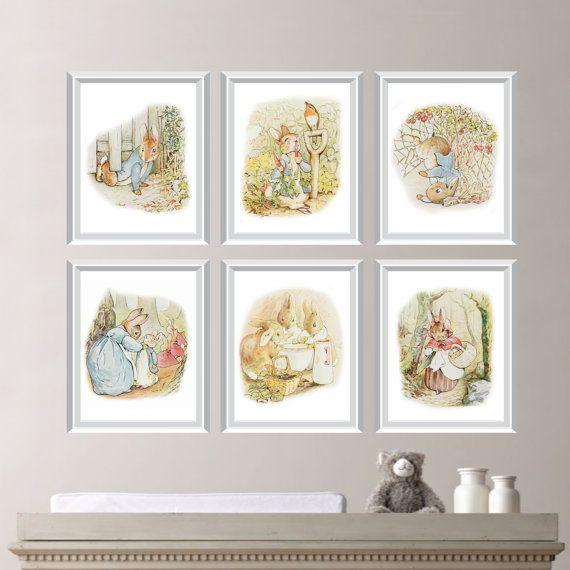 Peter rabbit nursery art this six print set features six for Beatrix potter bedroom ideas
