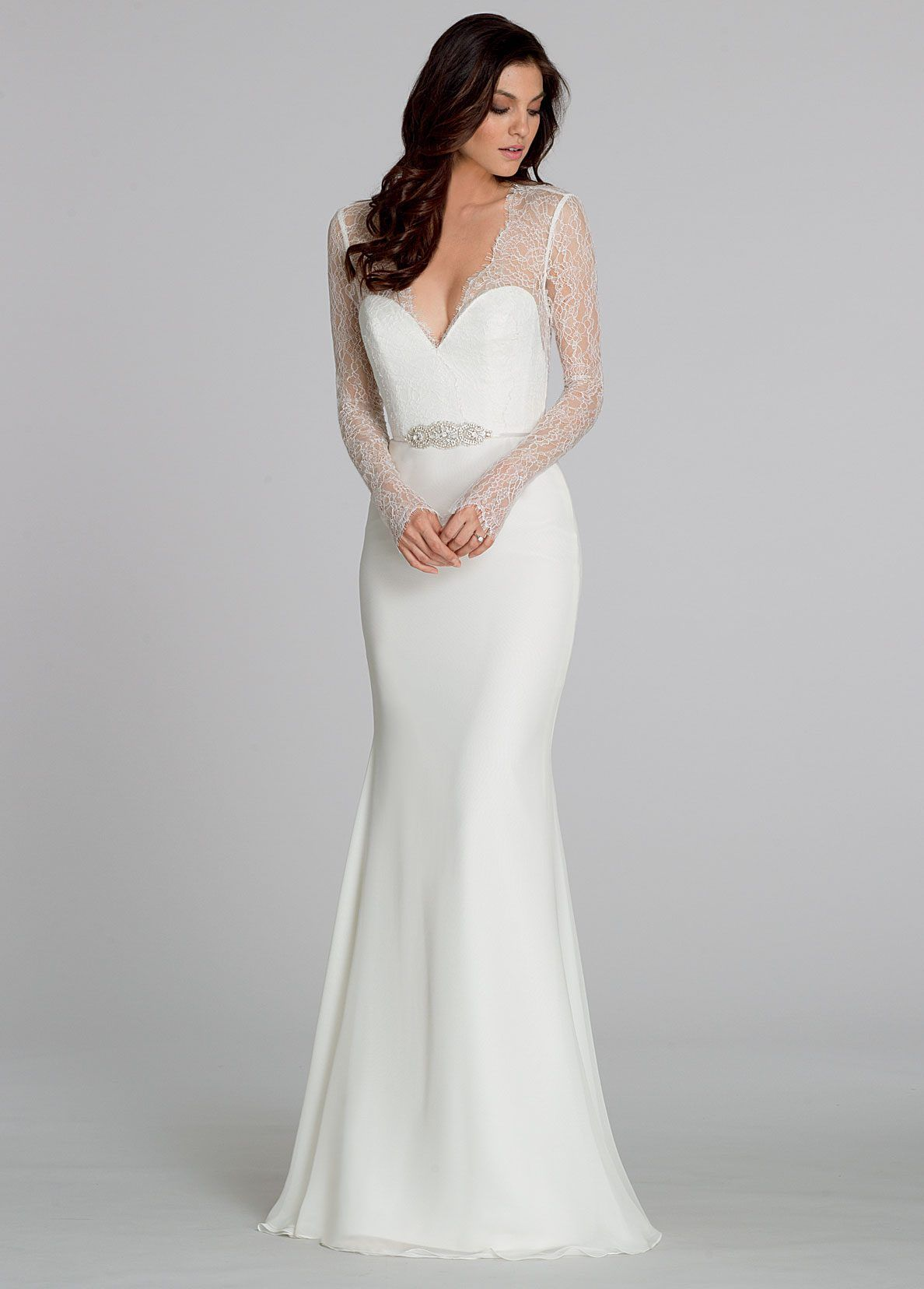 Ivory chiffon sheath bridal gown long sleeve chantilly lace bodice