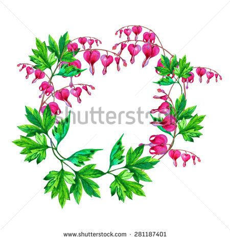 Vector Watercolor Floral Frame With The Bleeding Heart Stock Vector Bleeding Heart Bleeding Heart Flower Watercolor Flowers Tutorial