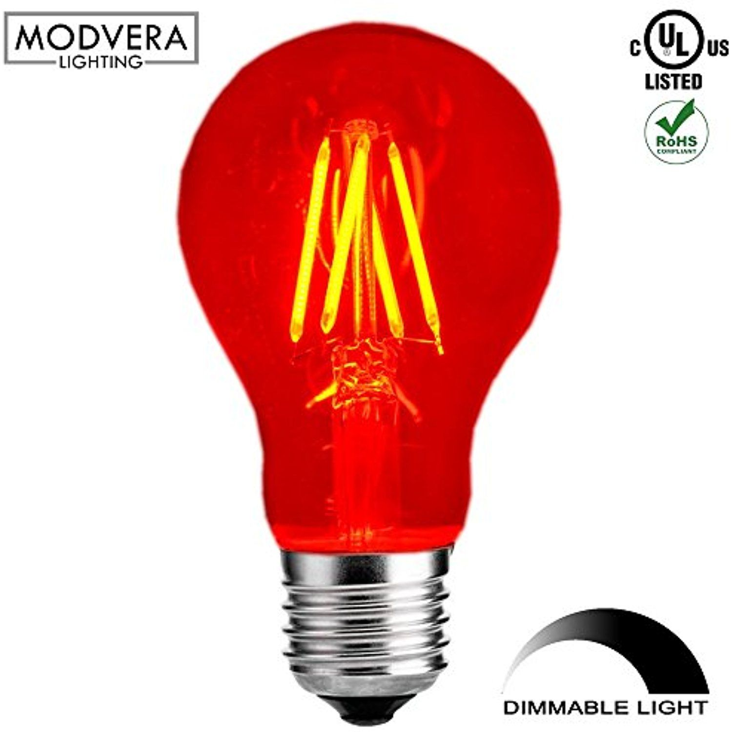 Modvera Red Led Light Bulb A19 3 Watt E26 Base 15 000 Hour Lifespan Clear Glass Lights Up Red Click Image To R Red Led Lights Led Light Bulb Glass Lighting
