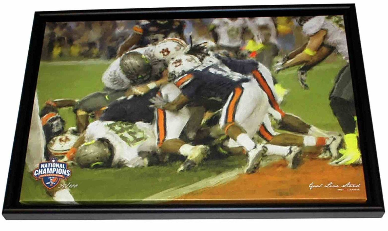 Auburn Tigers 2010 Football National Champions Goal Line Stand Framed Canvas