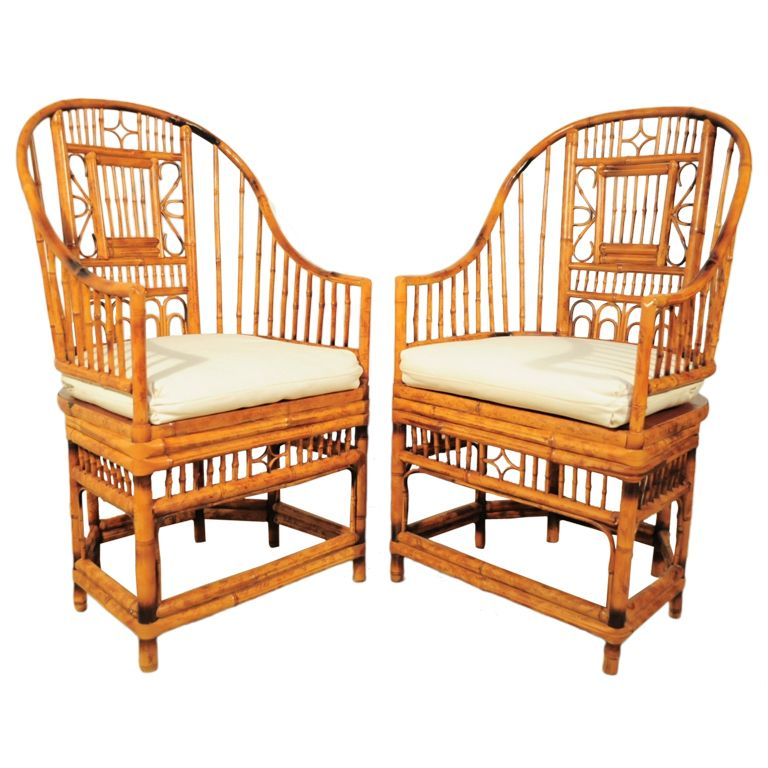 Superieur 1stdibs | Vintage Pair Of Hollywood Regency Tall Back Bamboo Armchairs