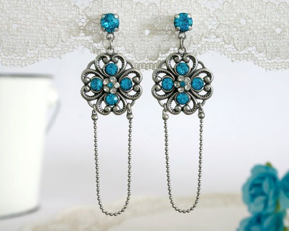 Turquoise crystal earrings, Chandelier turquoise earrings, Silver turquoise earrings, Turquoise dangle earrings