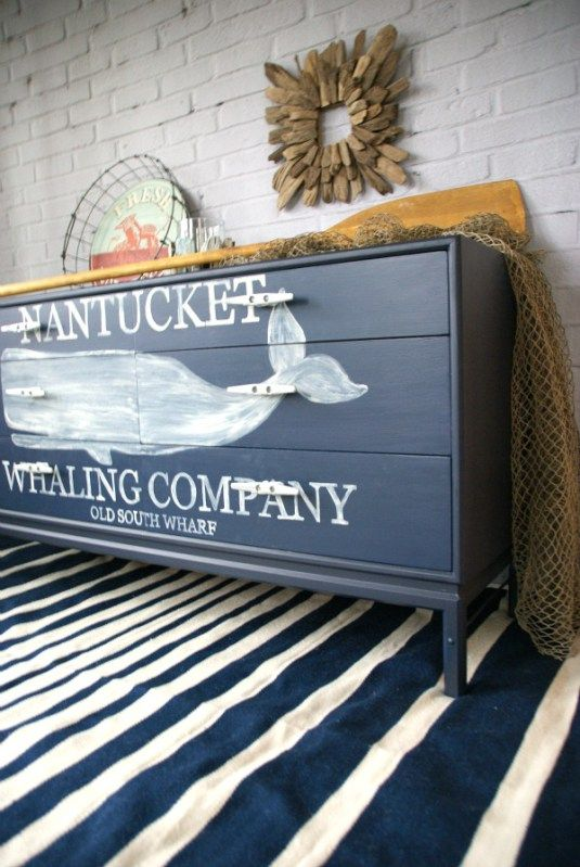 Nautical Whale Dresser Themed Furniture Makeover Day Canary Street Crafts Nautical Furniture Painted Furniture Flipping Furniture
