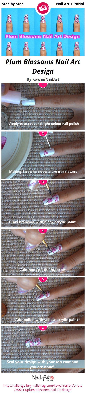 Plum Blossoms Nail Art Design by KawaiiNailArt - Nail Art Gallery ...