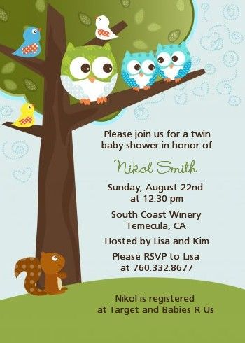 Owl Look Whooos Having Twin Boys Baby Shower Invitations Baby