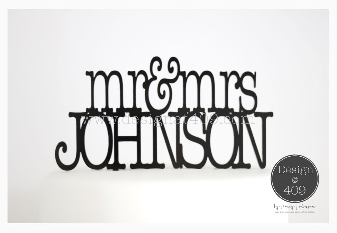 Mr mrs surname customisable acrylic cake topper by