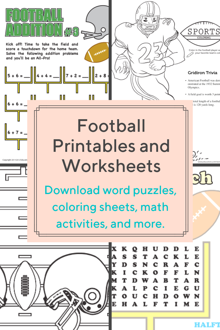 Download These Free Football Themed Printables And Worksheets That Are Perfect For Preschoolers Kind Preschool Printables Education Math Middle School Reading