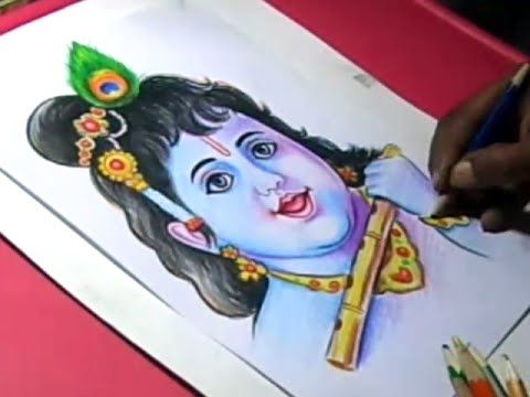 How to Draw LORD KRISHNA Color PAINTING Step by Step