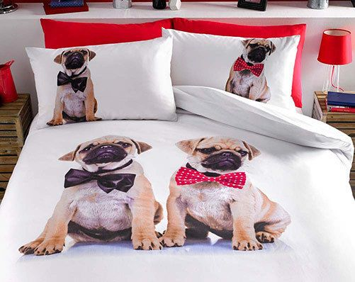 Pug Bedding Set Double King Duvet Cover And Pillowcase Set Dog Bed